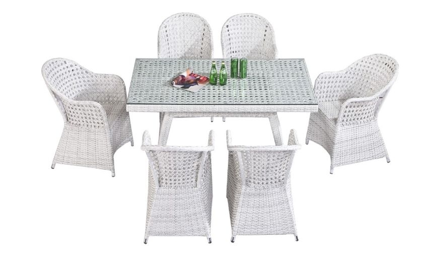 D-09 FULL COVER DINING SET WHITE